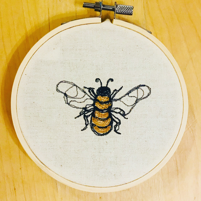 Yellow Bumble Bee Embroidered Picture - Embroidery hoop art