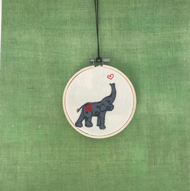 Baby Elephant Grey Nursery Wall Art - Embroidery Hoop Art