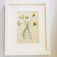 Yellow Wildflower Embroidered Textile Art Picture