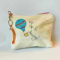 Hot Air Balloon Travel Zipper Pouch: Embroidered - Wanderlust