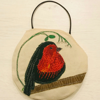 Embroidered Robin Lavender Bag