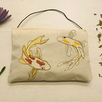 Embroidered Koi Fish Lavender Bag - Home Fragrance -