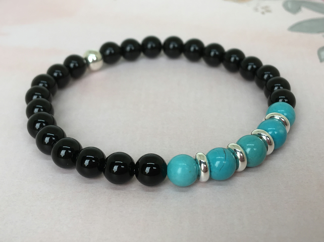 Turquoise & Black Onyx Gemstone Elastic Bracelet with Silver Plated beads.
