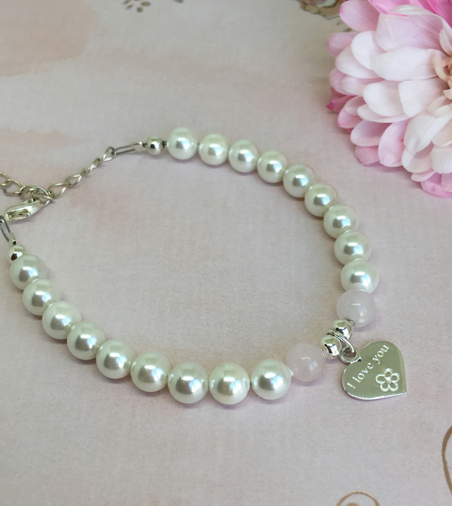 Pearl & Rose Quartz I Love You Engraved Sterling Silver Heart Charm Bracelet.