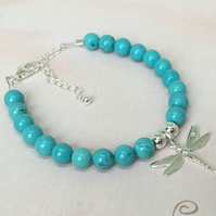 Turquoise and Sterling Silver Dragonfly Charm Bracelet with Chain Extender