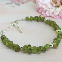 Peridot Chip Bracelet with Silver Plated Beads and Chain Extender