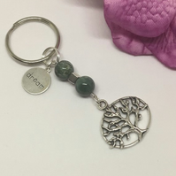 Tree of Life Moss Agate Gemstone Keyring