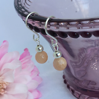 Sunstone Gemstone Drop Earrings with Sterling Silver Fish Hook