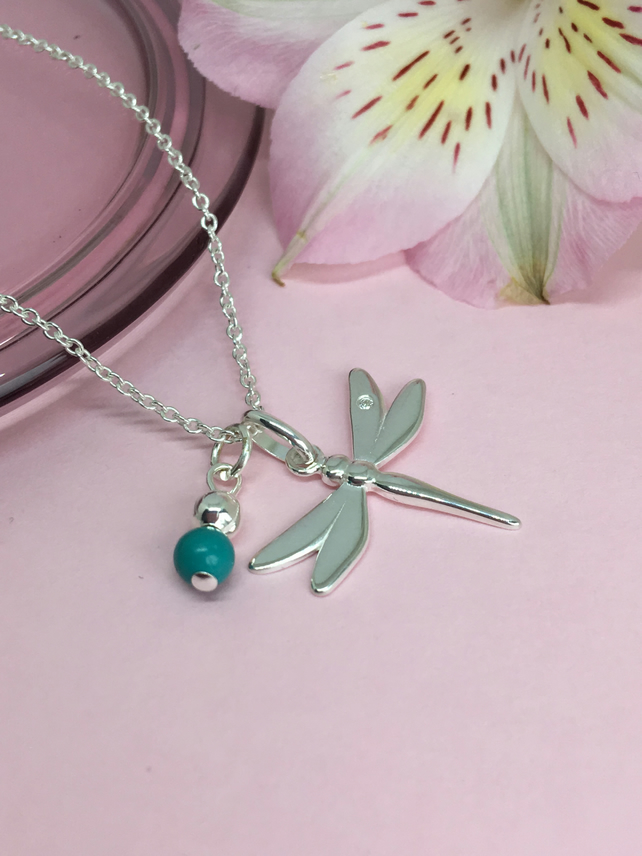 Dragonfly Sterling Silver Necklace With Turquoise Bead
