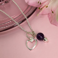 Heart Charm Sterling Silver Amethyst Necklace, Valentine Anniversary Necklace