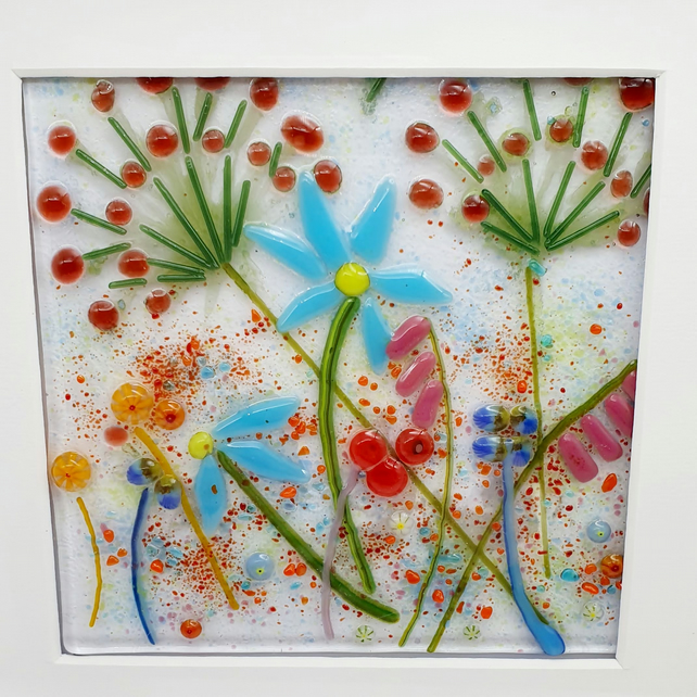 Fused Glass 'Flower Meadow' Framed Picture