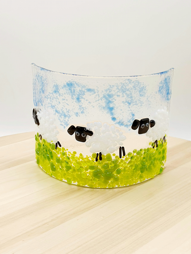Fused Glass 'Sheep'Candle Curve
