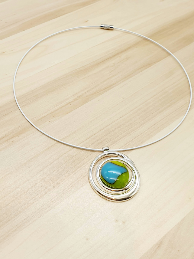 Fused Glass Pendant on Choker