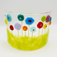 Fused Glass 'Rainbow Abstract Flowers' curved panel