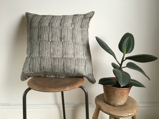 Wood Block Printed Cushion in design Bark - 100% Linen in colourway Caro Black
