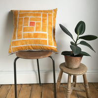 Geometric Wood Block Printed Cushion Cover - Tumeric