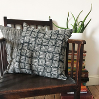 Wood Block Printed Cushion Cover in Design Ghana - 100% Linen in Caro Black