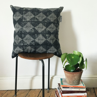 Wood Block Printed Cushion Cover in Design Kite - 100% Linen in Caro Black