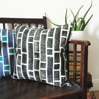 Wood Block Printed Cushion in Design Stack - in Caro Black (Blue back)