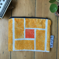 Block Printed Linen Purse - Lava