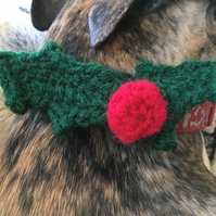 Collar bow Holly and berry Christmas for dog, cat or horse