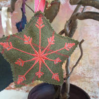 Tweed star decoration with snowflake embroidery