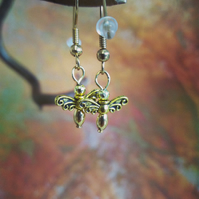 Bee bead earrings dangly gold coloured