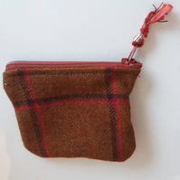 Tweed coin purse with Key ring