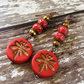Red and Gold Dragonfly Earrings, Beaded Earrings, Nature Earrings