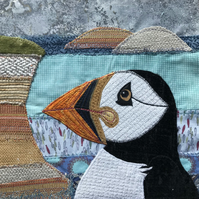 Framed Puffin appliqué picture