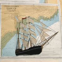 Personalised YOUR BOAT picture on old admiralty chart