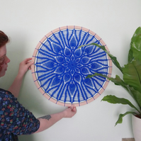 Bessy Blue doily hoop with 24 pineapples!  Crochet mandala.