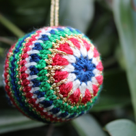 Sparkly crochet baubles