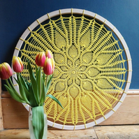 Yellow Bessy mandala hoop with 24 pineapples, vintage doily pattern