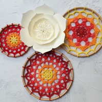 Sunset Mandalas, red, orange and yellow, cheerful wall art in a variety of sizes