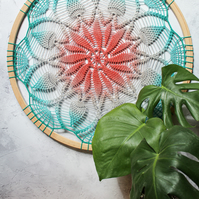 Teal to coral Patience crochet art