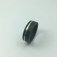 Handmade Welsh granite ring with 9K gold inlay