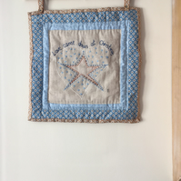 Hand embroidered Primitive Christmas wall hanging