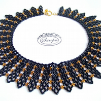 Statement necklace, collar necklace, bib black necklace, victorian necklace