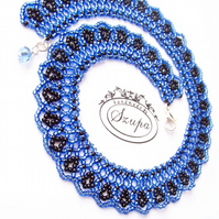 Blue and black necklace, beaded necklace, short necklace, bib necklace