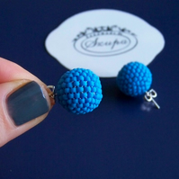 Ball stud earrings, blue earrings, beaded earrings,