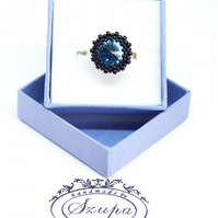 Blue swarovski ring, beaded ring, adjustable ring for her