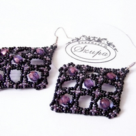 Big square earrings, black beaded earrings for women, bead earrings