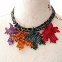 Autumn leaves necklace for women