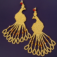 Gold peacock earrings with swarovski crystasl, beaded earrings for women
