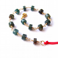 Green agate bracelet, minimalist bracelet for women, gemstone bracelet