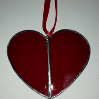 Ruby Red Stained Glass Heart