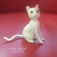 White Cat Needle Felted Sculpture Ornament