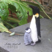 Needle Felted Emperor Penguin and Chick