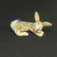 Sleepy Bunny Needle Felt Sculpture Ornament